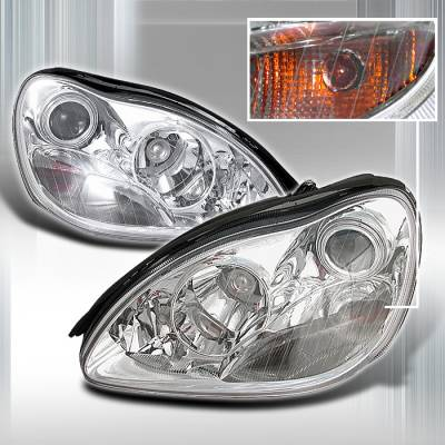 Headlights & Tail Lights - Headlights - Spec-D - Mercedes-Benz S Class Spec-D Halo Projector Headlights - Chrome - LHP-BW22000-KS