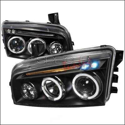 Headlights & Tail Lights - Headlights - Spec-D - Dodge Charger Spec-D Halo LED Projector Headlights - Black - LHP-CHG05JM-TM