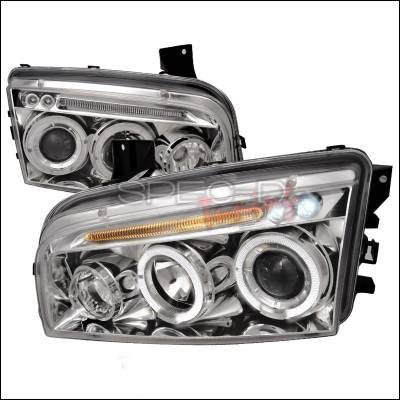 Headlights & Tail Lights - Headlights - Spec-D - Dodge Charger Spec-D Halo LED Projector Headlights - Chrome - LHP-CHG05-TM