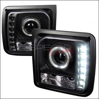 Headlights & Tail Lights - Headlights - Spec-D - Jeep Cherokee Spec-D Halo Projector Headlight with LED - Black - LHP-CHKE97JM-RS