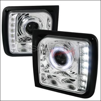 Headlights & Tail Lights - Headlights - Spec-D - Jeep Cherokee Spec-D Projector Headlights - Chrome Housing - LHP-CHKE97-RS