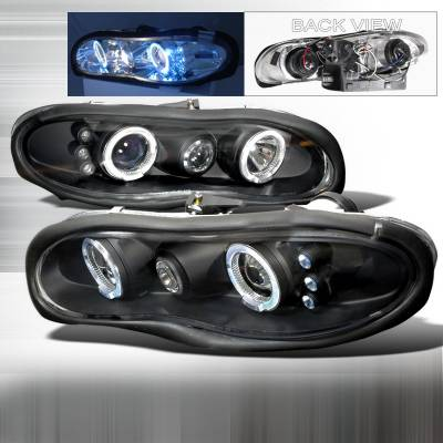 Headlights & Tail Lights - Headlights - Spec-D - Chevrolet Camaro Spec-D Halo LED Projector Headlights - Black - LHP-CMR98HJM-TM