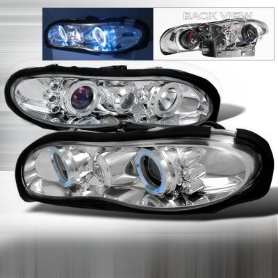 Headlights & Tail Lights - Headlights - Spec-D - Chevrolet Camaro Spec-D Halo LED Projector Headlights - Chrome - LHP-CMR98H-TM