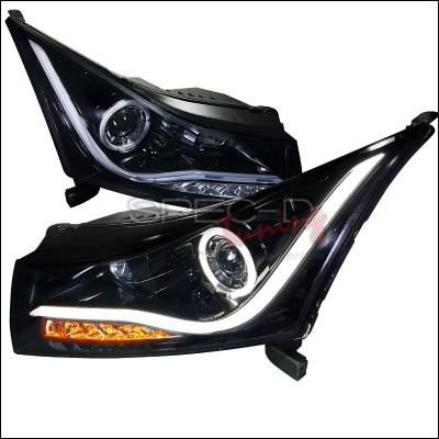 Headlights & Tail Lights - Headlights - Spec-D - Chevrolet Cruze Spec-D LED Halo Projector Headlight with Gloss Black Housing & Smoke Lens - LHP-CRU11G-TM