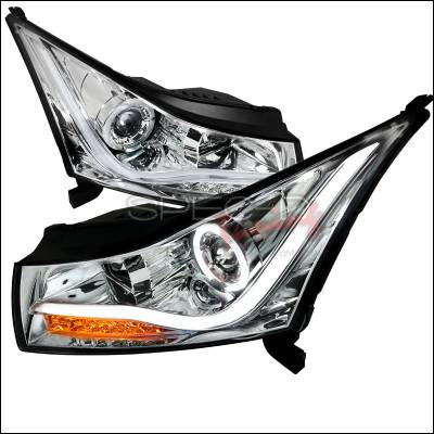 Headlights & Tail Lights - Headlights - Spec-D - Chevrolet Cruze Spec-D LED Halo Projector Headlight - Chrome - LHP-CRU11-TM
