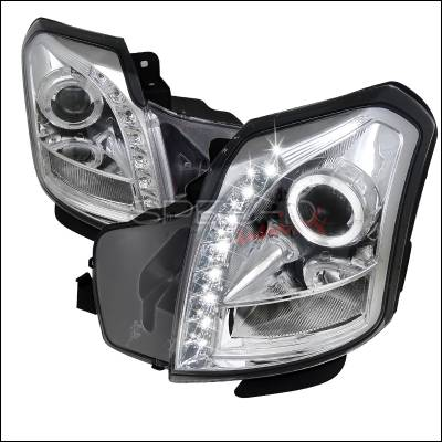 Headlights & Tail Lights - Headlights - Spec-D - Cadillac CTS Spec-D Halo Projector Headlights - Chrome - LHP-CTS03-RS