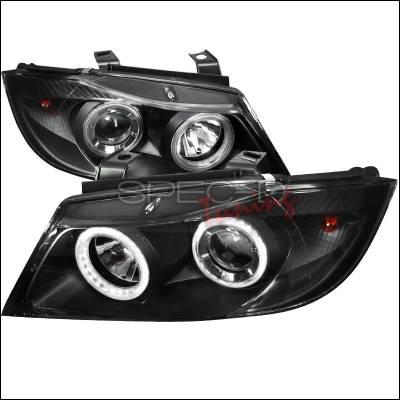 Headlights & Tail Lights - Headlights - Spec-D - BMW 3 Series Spec-D Projector Headlights - Black Housing - With Daylight Ring Kit - LHP-E9005JM-DL-APC