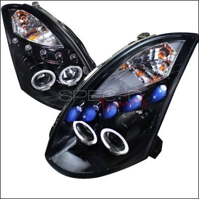 Headlights & Tail Lights - Headlights - Spec-D - Infiniti G35 Spec-D Projector Headlight Gloss - Black Housing - Smoke Lens - LHP-G35032G-TM