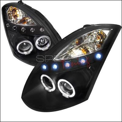 Headlights & Tail Lights - Headlights - Spec-D - Infiniti G35 Spec-D Black Housing Projector Headlight - LHP-G35032JM-TM