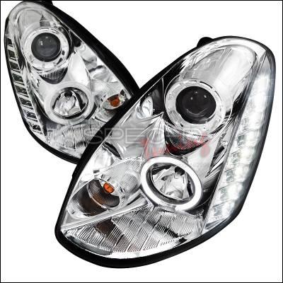 Headlights & Tail Lights - Headlights - Spec-D - Infiniti G35 4DR Spec-D Projector Headlights - Chrome Housing - LHP-G35054-TM