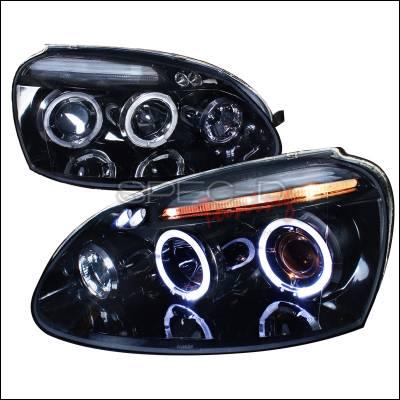 Headlights & Tail Lights - Headlights - Spec-D - Volkswagen Golf GTI Spec-D Projector Headlight Gloss - Black Housing - Smoke Lens - LHP-GLF05G-TM