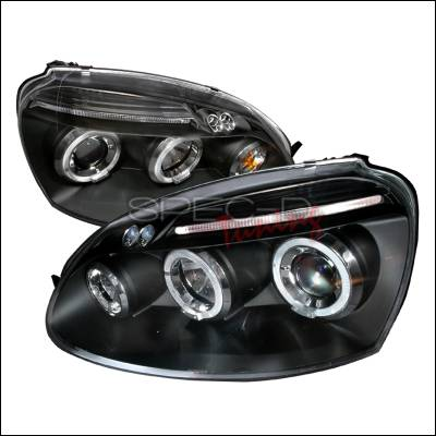 Headlights & Tail Lights - Headlights - Spec-D - Volkswagen Jetta Spec-D Halo LED Projector Headlights - Black - LHP-GLF05JM-TM