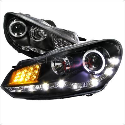 Headlights & Tail Lights - Headlights - Spec-D - Volkswagen Golf Spec-D R8 Style Projector Headlight - Black Housing with LED Signal - LHP-GLF10JM-8V2-TM