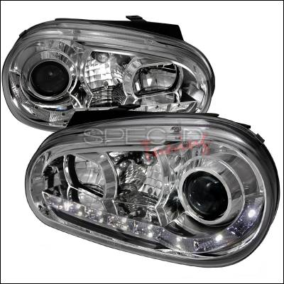 Headlights & Tail Lights - Headlights - Spec-D - Volkswagen Golf Spec-D R8 Style Halo LED Projector - Chrome - LHP-GLF99-8-TM