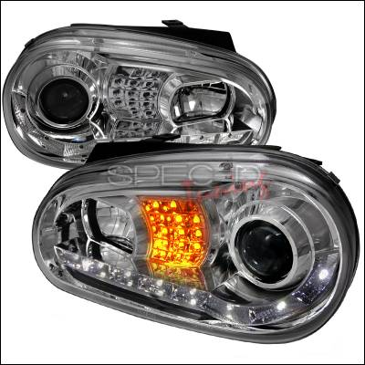 Headlights & Tail Lights - Headlights - Spec-D - Volkswagen Golf Spec-D R8 Style Halo LED Projector with LED Signal - Chrome - LHP-GLF99-8V2-TM