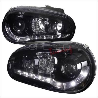 Headlights & Tail Lights - Headlights - Spec-D - Volkswagen Golf Spec-D R8 Style Smoked Lens Gloss - Black Housing Projector Headlights - LHP-GLF99G-8-TM