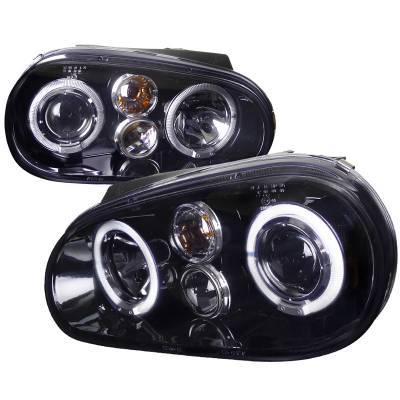 Headlights & Tail Lights - Headlights - Spec-D - Volkswagen Golf Spec-D Black Housing Projector - Smoked Lens Gloss - LHP-GLF99G-TM