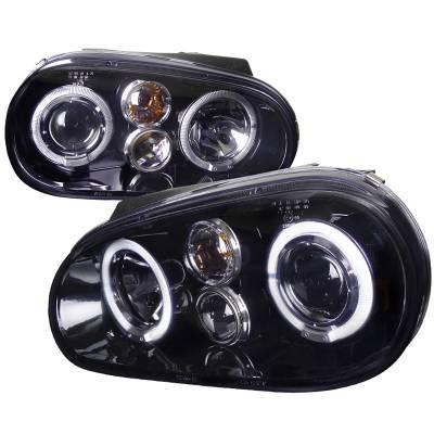 Headlights & Tail Lights - Headlights - Spec-D - Volkswagen Golf Spec-D Projector Headlight Gloss - Black Housing - Smoke Lens - LHP-GLF99G-TM