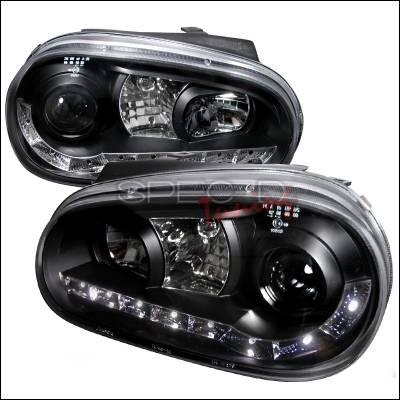 Headlights & Tail Lights - Headlights - Spec-D - Volkswagen Golf Spec-D R8 Style Halo LED Projector - Black - LHP-GLF99JM-8-TM