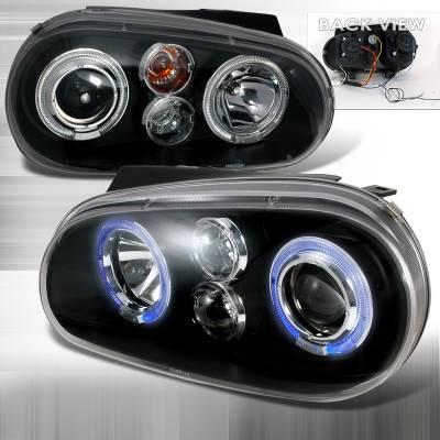 Headlights & Tail Lights - Headlights - Spec-D - Volkswagen Golf Spec-D Halo LED Projector Headlights - Black - LHP-GLF99JM-TM