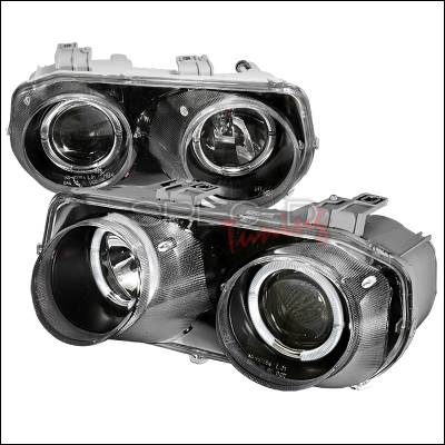 Headlights & Tail Lights - Headlights - Spec-D - Acura Integra Spec-D Halo Projector Headlights - Black - LHP-INT94JM-KS