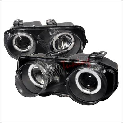 Headlights & Tail Lights - Headlights - Spec-D - Acura Integra Spec-D Dual Halo Projector Headlights - Black - LHP-INT94JM-WJ