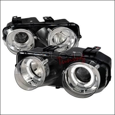 Headlights & Tail Lights - Headlights - Spec-D - Acura Integra Spec-D Dual Halo Projector Headlights - Chrome - LHP-INT94-WJ