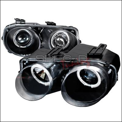 Headlights & Tail Lights - Headlights - Spec-D - Acura Integra Spec-D Halo Projector Headlights - Black - LHP-INT98JM-KS