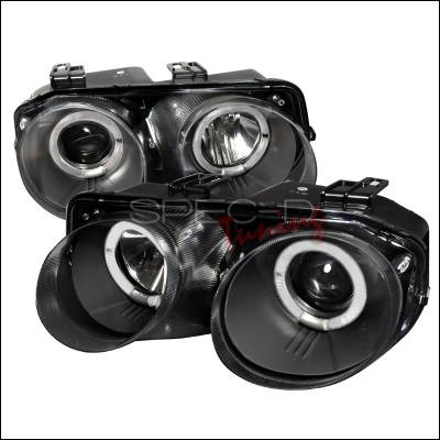 Headlights & Tail Lights - Headlights - Spec-D - Acura Integra Spec-D Dual Halo Projector Headlights - Black - LHP-INT98JM-WJ