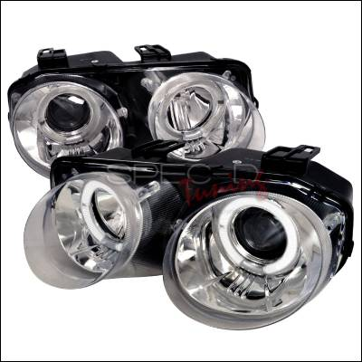 Headlights & Tail Lights - Headlights - Spec-D - Acura Integra Spec-D Dual Halo Projector Headlights - Chrome - LHP-INT98-WJ