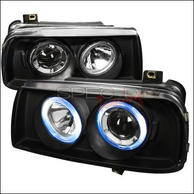 Headlights & Tail Lights - Headlights - Spec-D - Volkswagen Jetta Spec-D Projector Headlights - Black - LHP-JET93JM-APC