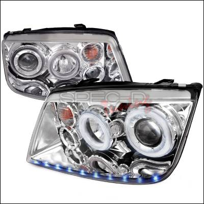Headlights & Tail Lights - Headlights - Spec-D - Volkswagen Jetta Spec-D LED Stripe Dual Halo Projector Headlights - Chrome - LHP-JET99-APC