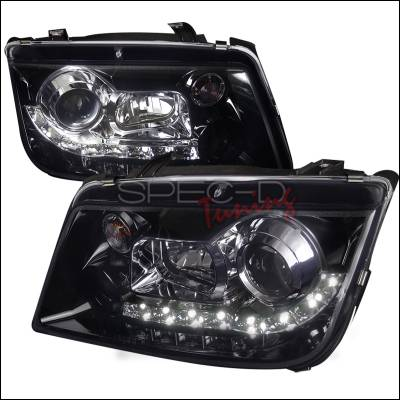 Headlights & Tail Lights - Headlights - Spec-D - Volkswagen Jetta Spec-D R8 Style Smoked Lens Gloss - Black Housing Projector Headlights - LHP-JET99G-8-TM