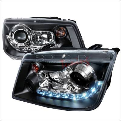 Headlights & Tail Lights - Headlights - Spec-D - Volkswagen Jetta Spec-D R8 Style Halo LED Projector - Black - LHP-JET99JM-8-TM