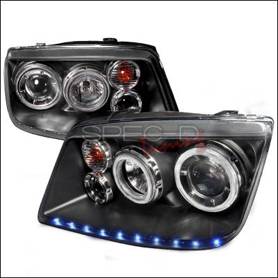 Headlights & Tail Lights - Headlights - Spec-D - Volkswagen Jetta Spec-D LED Stripe Dual Halo Projector Headlights - Black - LHP-JET99JM-APC