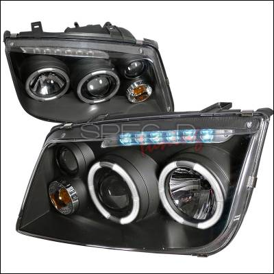 Headlights & Tail Lights - Headlights - Spec-D - Volkswagen Jetta Spec-D Projector Headlights - Black Housing - LHP-JET99JM-RS