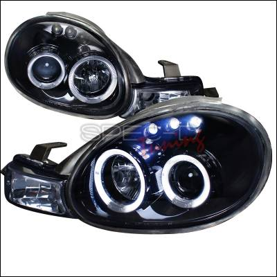 Headlights & Tail Lights - Headlights - Spec-D - Dodge Neon Spec-D Projector Headlight Gloss - Black Housing - Smoke Lens - LHP-NEO00G-TM
