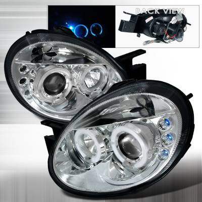 Headlights & Tail Lights - Headlights - Spec-D - Dodge Neon Spec-D Halo LED Projector Headlights - Chrome - LHP-NEO03-TM