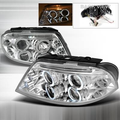 Headlights & Tail Lights - Headlights - Spec-D - Volkswagen Passat Spec-D Halo LED Projector Headlights - Chrome - LHP-PAS01-TM