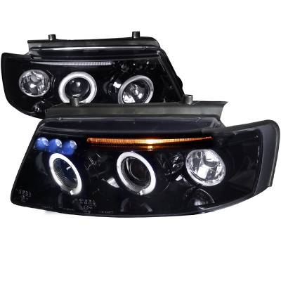 Headlights & Tail Lights - Headlights - Spec-D - Volkswagen Passat Spec-D Black Housing Projector Headlights - Smoked Lens Gloss - LHP-PAS97G-TM