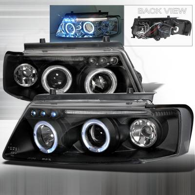 Headlights & Tail Lights - Headlights - Spec-D - Volkswagen Passat Spec-D Halo LED Projector Headlights - Black - LHP-PAS97JM-TM