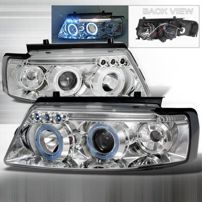 Headlights & Tail Lights - Headlights - Spec-D - Volkswagen Passat Spec-D Halo LED Projector Headlights - Chrome - LHP-PAS97-TM