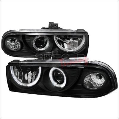 Headlights & Tail Lights - Headlights - Spec-D - Chevrolet S10 Spec-D Dual Halo Projector Headlights - Black - LHP-S1098JM-WJ