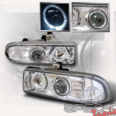 Headlights & Tail Lights - Headlights - Spec-D - Chevrolet S10 Spec-D Halo Projector Headlights - Chrome - LHP-S1098-KS