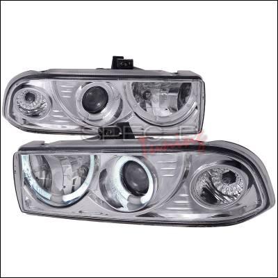 Headlights & Tail Lights - Headlights - Spec-D - Chevrolet S10 Spec-D Dual Halo Projector Headlights - Chrome - LHP-S1098-WJ