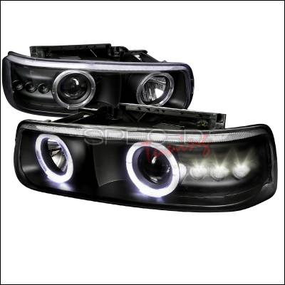 Headlights & Tail Lights - Headlights - Spec-D - Chevrolet Tahoe Spec-D Projector Headlights - Black Housing - LHP-SIV99JM-RS