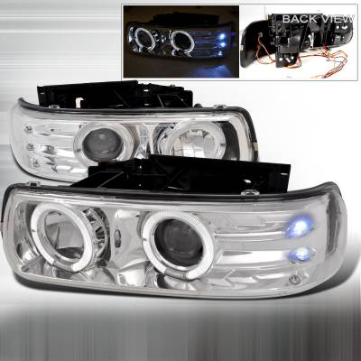 Headlights & Tail Lights - Headlights - Spec-D - Chevrolet Suburban Spec-D Dual Halo LED Projector Headlights - Chrome - LHP-SIV99-WJ