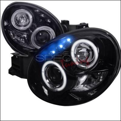 Headlights & Tail Lights - Headlights - Spec-D - Subaru Impreza Spec-D Black Housing Projector Headlights - Smoked Lens Gloss - LHP-WRX02G-TM