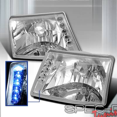 Headlights & Tail Lights - Headlights - Spec-D - Ford Ranger Spec-D Crystal Housing Headlights - Chrome - LH-RAN98-TM