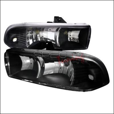 Headlights & Tail Lights - Headlights - Spec-D - Chevrolet S10 Spec-D Black Housing Headlights - LH-S1098JM-RS
